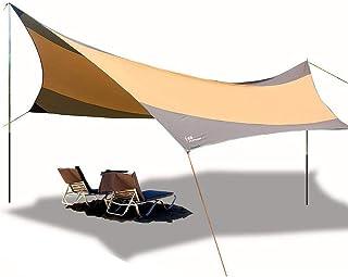 天幕サンシェルター テント シェード キャンプ アウトドア 超広い タープテント サンシェード550*560cm 防水 キャンプ 防災テント3-6人用 タープ