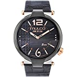Mulco Couture Slim Quartz Slim Analog Swiss Movement Unisex Watch | Special Texture Design Sundial Display Accents | Leather Watch Band | Water Resistant Stainless Steel Watch (Black)