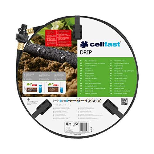 Cellfast Tubo per irrigazione DRIP, irrigazione economica e precisa, risparmio fino al 70% di acqua, collegamento in serie, 15m, 1 2 ,19-002