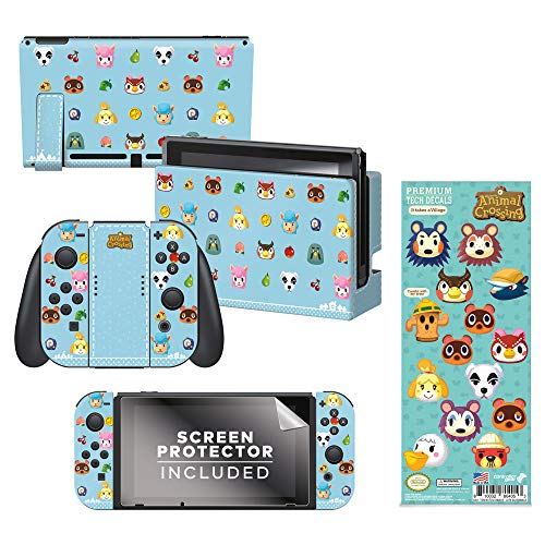 Controller Gear Authentic and Officially Licensed 2-Pack Animal Crossing: New Horizons - 'Party Animal' Nintendo Switch Skin & 'It Takes A Village' Tech Decal - Nintendo Switch