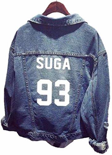 WOOKIT Unisex Jeansjacke für Army KPOP Hoodies Kapuzenpullover Suga Jin Jimin Jung Kook J-Hope Rap-Monster V 93 SUGA