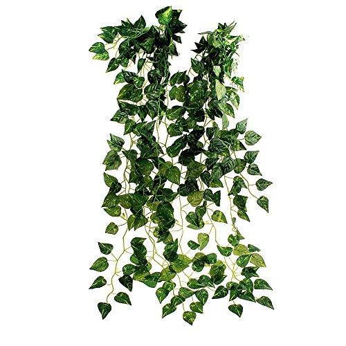TININNA 35' Ivy Silk Greenery Atificial Fake Hanging Vine Plant Leaves Garland Home Garden Wall Decoration 5 Pcs