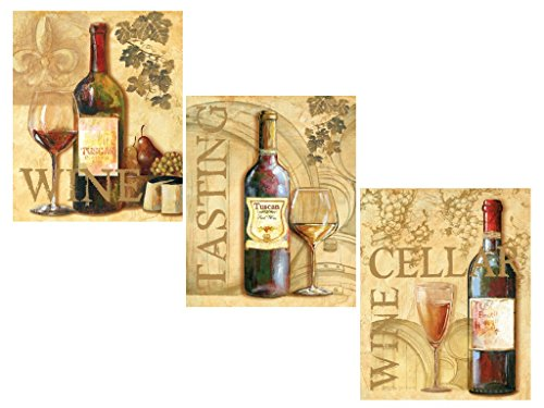 3 Wine Grape Art Prints Tuscany Posters Kitchen Decor Art Poster Print by Ron Jenkins, 8x10