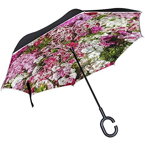 Be-ryl-Car reverse umbrella Paraguas inverso Arreglo de Mujer Bloom Protección UV Paraguas inverso a Prueba de Viento de Doble Capa Invertida con Mango en Forma de C
