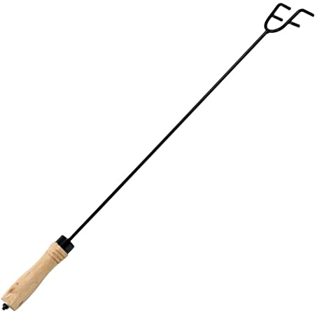 Sunnydaze Steel Fire Pit Poker Stick - Wood Handle - Outdoor Camping - Fireplace Tool - 26 Inch Long - Stoke Campfire or Fireplace - Indoor or Outdoor Use