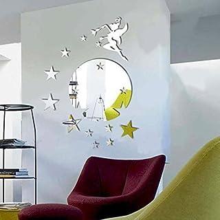 comprar comparacion Walplus caza Tinker Bell diseño de hada con diseño de estrellas y espejo redondo decorativo, plateado