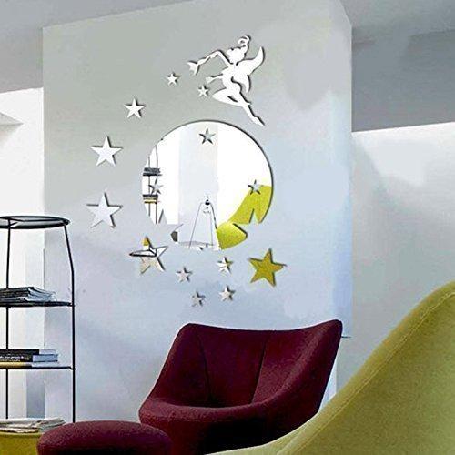 WALPLUS Wandspiegel Fliegende Fee Tinker Bell, mit Sterne-Motiv, rund