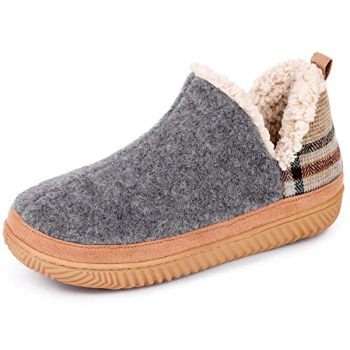 VeraCosy Ladies' Micro Suede Hi-Top Ankle Boot Slippers with Sheepskin Classic Plaid Grey, 5 UK