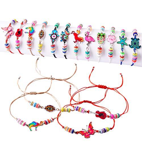 12pz Braccialetti Amicizia Bracciali da Bambina Regalo Gadget per Compleanno Gioielli Ragazza Regolabile Colori Brillanti Femminucce della Festa