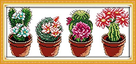 Cross Stitch Counted Kits Stamped Kit Cross-Stitching Pattern for Home Decor, 11CTPre-Printed Fabric Embroidery Crafts Nee...