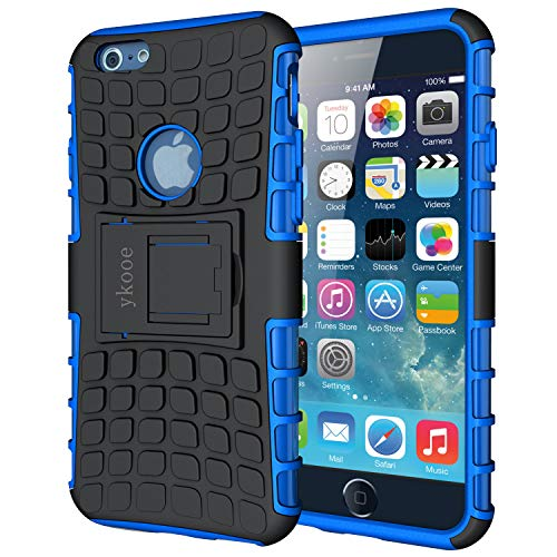 ykooe Handyhülle kompatibel für iPhone 6 Hülle, (TPU Series) iPhone 6 Dual Layer Hybrid Handy Schutzhülle mit Ständer für iPhone 6 und 6s [4,7 Zoll] Blau