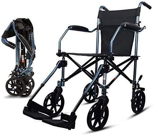 CENPEN Silla de ruedas plegable ligera ultraligera portátil silla de ruedas para ancianos y ancianos de viaje con ruedas pequeñas + bolsa de almacenamiento (estilo: A)