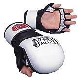 Combat Sports Safety MMA Training Sparring Gloves, White-Black, Regular