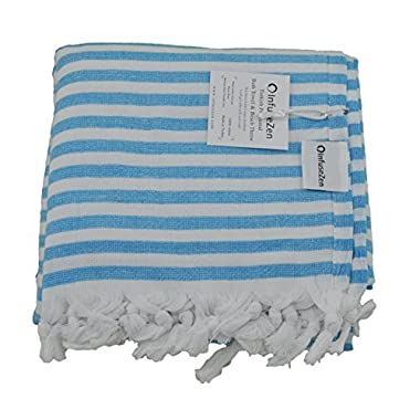 InfuseZen Aqua Blue and White Striped Turkish Terry Towel for the Bath, Pool or Spa, Oversized Beach Towel, Oversized Peshtemal Towel, Thin Terry Fouta