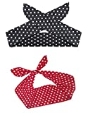 Shimmer Anna Shine Pin Up Girl Style Wire Adjustable Headband, 2 Pack (Red and Black Polka Dot Print)