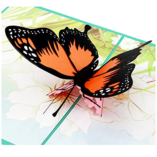 Butterfly Pop Up Birthday Cards, 3D Pop Up Greeting Cards with Envelope, Handmade Card for Birthday,...