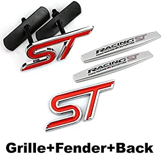1pc ST Racing Front Grille + 2pcs Fender Side Sticker + 1pc Back Sticker Car Emblem Badge Accessories Car Products Compatible Fit For USA Auto Model Ford