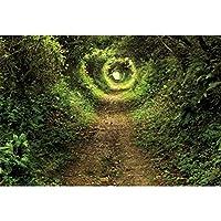 Qinunipoto 背景布 春 撮影布 背景紙 撮影 背景 写真 布背景 撮影布 自然の風景 写真背景布 撮影用背景布 屋外の風景 撮影用背景布 トンネル 小さな道 密な木 遠い太陽 風景写真 ビニール 小道具 1.5m x 1m