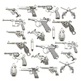 Gun Charm Collection-100g Craft Supplies Pistol Gun Weapon Charms Pendants for Crafting, Jewelry Findings Making Accessory for DIY Necklace Bracelet Earrings (M115)