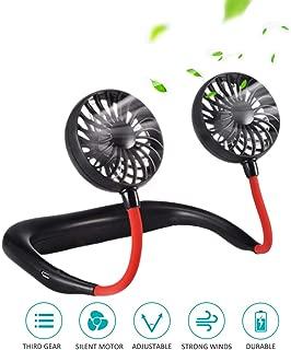 Hands-Free Mini Fan, TECHSHARE Portable USB Battery Rechargeable Wearable Neckband Fan Necklance Fan