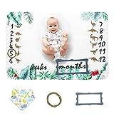 Baby Mensual Milestone Blanket 100X150cm Impreso Franela Recién nacidos Fotografía Telón de fondo Memoria Manta Nuevas mamás Baby Shower Set de regalo-Baberos + Marco + Guirnalda (Dinosaurio)