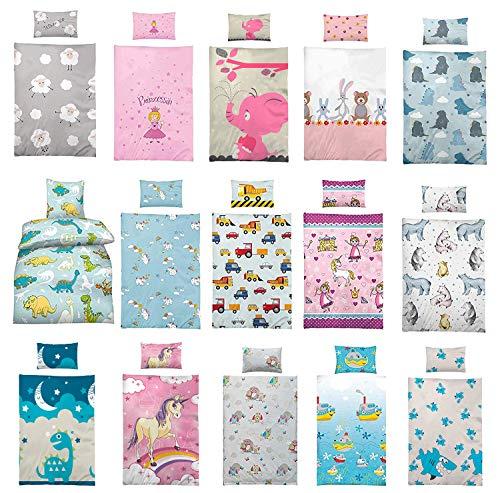 Kinder-Bettwäsche 100x135 cm + Kissen 40x60 cm aus 100% Baumwolle mit verschiedenen Motiven