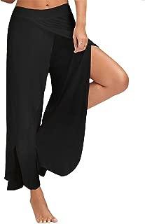 LINGMIN Women's Layered Wide Leg Slit Pants Flowy Cropped High Waist Palazzo Yoga Pants