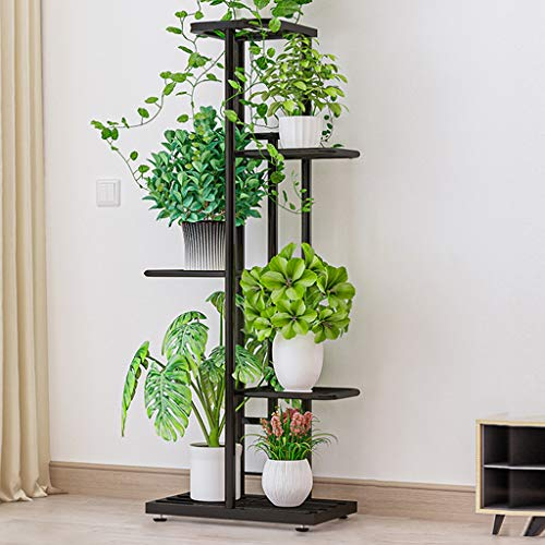VOVEY - Soporte de hierro para plantas, 5 niveles, estante para jardín, patio, decoración interior y exterior, ahorra espacio, 43 x 22 x 98 cm