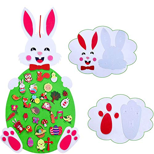Moent 1PC Easter DIY Felts Bunny Set,DIY Felts Rabbit For Kids Wall Hanging Decor With 47 Ornaments Gift,Festival Birthday Party Decoration Supplies