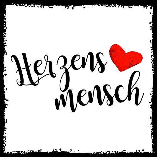 how about tee? - Herzensmensch - stylischer Kühlschrank Magnet mit lustigem Spruch-Motiv - zur Dekoration oder als Geschenk
