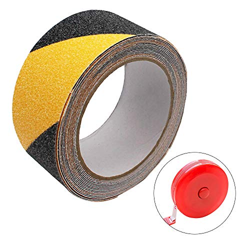 Lifreer 1 x Anti-Rutsch-Klebeband, starker Halt, Abrasiv-Klebeband, Warnband, Gefahrenband schwarz und gelb (5 m Länge x 5 cm Breite x 0,75 mm Dicke) für Innen- und Außenbereich, 1 x Maßband