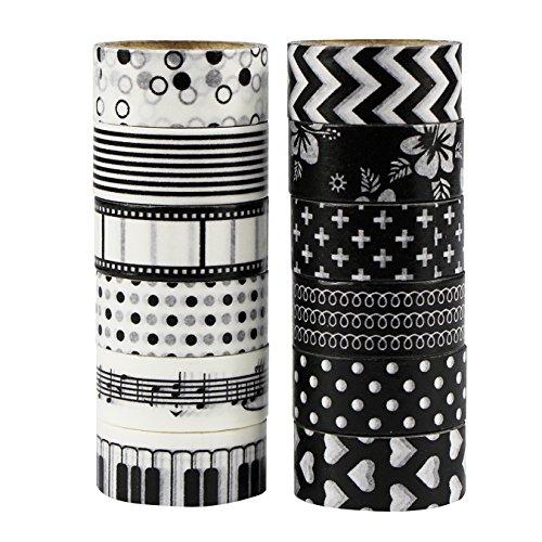 UOOOM 12 Rolls Beautiful Washi Tape Masking Tape deko klebeband buntes Klebebänder DIY scrapbook deko (black)