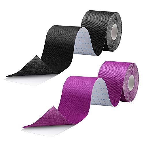 HICOO Kinesiologie Tape, Stark Klebendes Wasserdichtes Sportband, Physio Tape 5 * 500cm, Schwarz, Lila 2 St