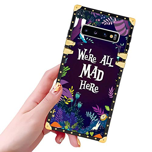 DISNEY COLLECTION Samsung Galaxy S10 Case for Women Girls Alice in Wonderland Pattern Square Glitter Luxury Slim Shockproof Bumper Protective Cover for Galaxy S10 6.1 Inch