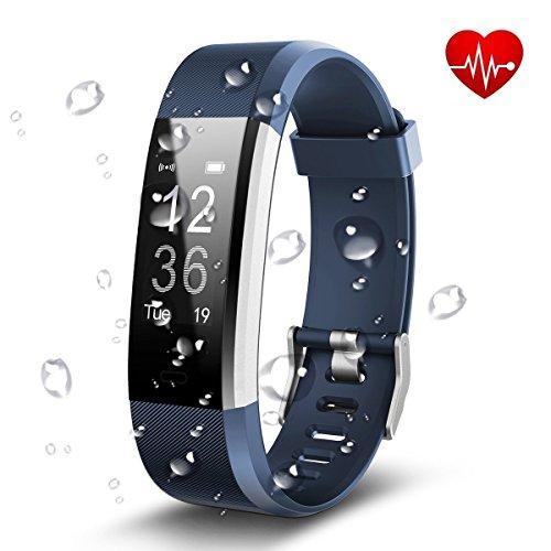 MA SOSER Smart Armband hartslagmeter waterdichte stappenteller oproepherinnering Android Apple Universal, blauw