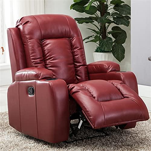 ZYFWBDZ Sillón reclinable Manual de Cuero, sillón reclinable Ajustable de Cuero Mullido con Soportes para Bebidas para Club de Cine en casa o Sala de Estar,Rojo