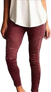 Women Skinny Stretch Pleated Ankle Zipper Pencil Denim Pants Jeggings