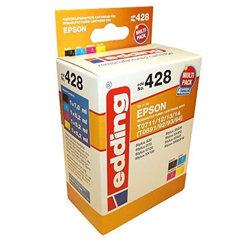 Edding EDD-428 T071140/712/713/714 - Juego de 4 cartuchos de tinta