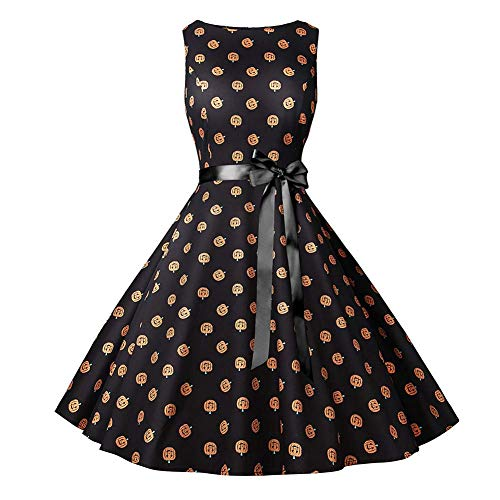 YYH Women's Banket Jurk Vintage afdrukken Kerstjurk Xmas Rockabilly Cocktail Party Jurk XXL C