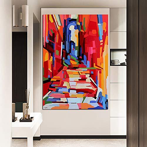 wojinbao Kein Rahmen Abstrakte Bunte Treppenplakate und Drucke, Wandplakate, Wohnzimmerdekoration