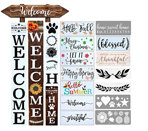 Welcome Stencil for Painting on Wood and More, Reusable Stencils Welcome Home Seasonal Sunflower Dog Paw Sign Stencils, Perfect Fall Decor for Your Home, Front Door, Porch or Outside Decor (21PCS)