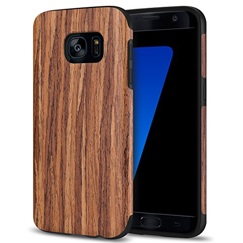 TENDLIN Galaxy S7 Hülle Holz und Flexiblem TPU Silikon Hybrid Weiche Schutzhülle für Samsung Galaxy S7 (Rotes Sandelholz)