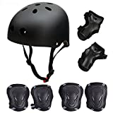 Besmall Kid's Protective Gear Set,Roller Skating Skateboard BMX Scooter Bike Cycling Sports Protective Gear Pads for Youth Boys Girls(Adjustable Helmet+Knee Pads+Elbow Pads+Wrist Pads) Black M