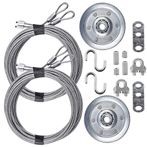 """Garage Door Cable and Pulley Replacement Kit Including 2 Pairs of Galvanized Aircraft Cables - 3/32"""" and 1/8"""" Diameter, Two Heavy Duty 3"""" Sheaves, 10 Fasteners for Overhead Sectional Garage Doors"""