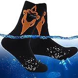 RANDY SUN Kids Waterproof Socks, Boys Girls Youth Merino Wool Crew Socks Breathable Athletic Dry Feet Water Resistant Socks Moisture Wicking Golf Kayaking Wading Trekking Socks 1 Pair (Black&Orange)