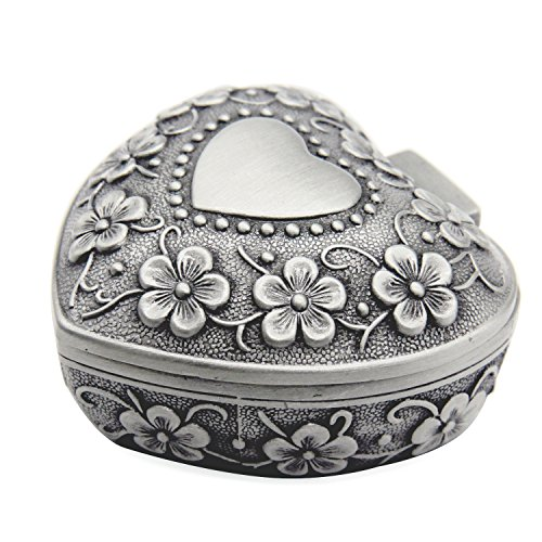 AVESON Classic Vintage Antique Heart Shape Jewelry Box Ring Small Trinket Jewellery Storage Organiser Chest, Silver