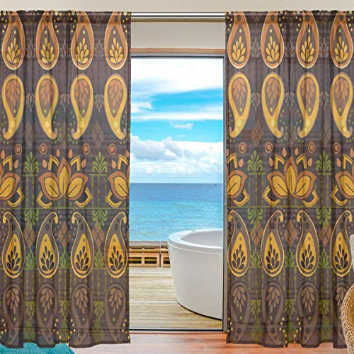 Ahomy 2 Stück Voile Fenstervorhang, Afrika Art Nation Custom, Polyester, multi, 139.7x213.4 cm
