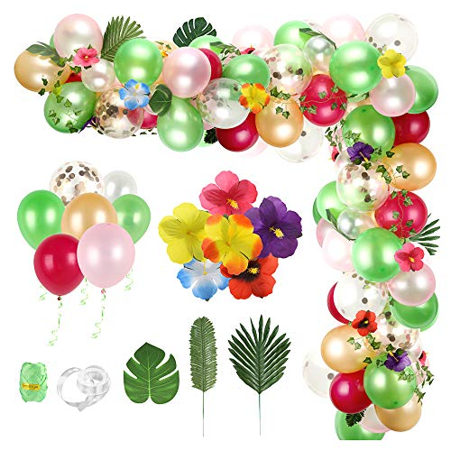 Auihiay 124 Pieces Tropical Balloons Garland Arch Set with Ivy Vines, HibiscusFlowers, Palm Leaves and Balloon Strip for Hawaiian Summer Beach Party Birthday Baby Shower Party Decoration
