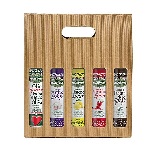 Confezione 5 x 100 ml spray: olio extravergine d'oliva, condimento all'aglio, al limone, al peperoncino, al tartufo