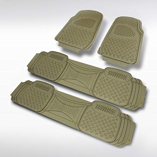 Autozensation 4PC Front Rear Heavy Duty PVC Rubber Beige 3D Floor Mat Carpet Truck Semi-Custom